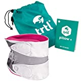 trtl Pillow Plus, Travel Pillow - Fully Adjustable Neck Pillow for Airplane Travel, Car, Bus and Rail. (Pink) Includes Water Proof Carry Bag and Setup Guide. Trtl Travel Accessories