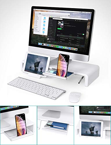 41gfq6vypBL - Klearlook Foldable Monitor Stand Built in Storage Drawer Tablet&Phone Stand Holder, Width Adjustable Desktop Monitor Screen Riser,Anti-Slip Monitor Mount for Computer/Printer/Laptops/TV-White