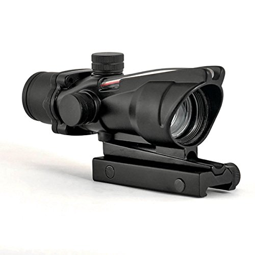 CL-SPORTS ACOG Type 1X32 Tactical Green or RED Dot Sight Real Green Fiber Optic Riflescope (Red Dot)