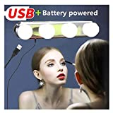 Vanity Mirror Lights, Jresboen [Updated] Makeup Mirror Lights Hollywood Styles Led Vanity Mirror Light Kit for Makeup Dressing Table Lights USB and Battery Operated with 4 LED Bulbs and 3 Suction Cups