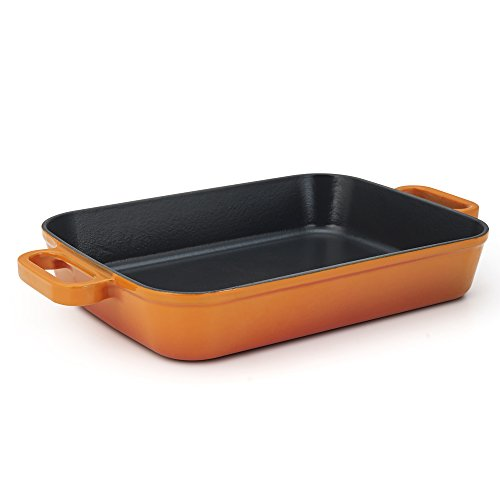 Essenso Chambery Enameled Cast Iron Baking Dish Roaster Lasagna Dish, Orange, 11.8