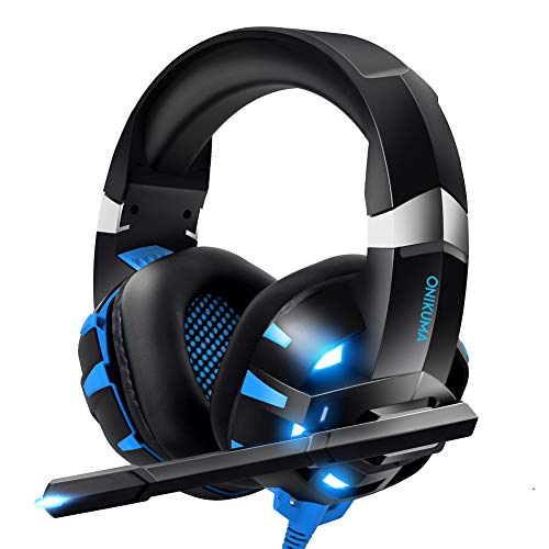 RUNMUS Gaming Headset Xbox One Headset with 7.1 Surround Sound Stereo, PS4 Headset with Noise Canceling Mic & LED Light, Compatible with PC, PS4, Xbox One Controller(Adapter Not Included)