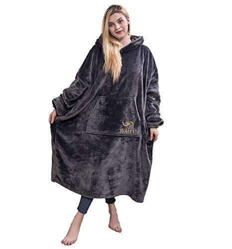 Oversized Hoodie Sweatshirt Blanket, Wearable Blanket with Giant Pocket for Women, Men Adults, One Size Fit All - Dark Gray