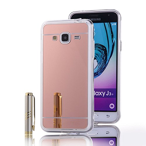 Galaxy J3 / J3 (2016) Case, Nicelin Acrylic Plastics Mirror Plane PC Cover and Soft TPU Material Case for Samsung Galaxy J3 / J3 (2016 version) / SM-J310 / SM-J310x / SM-J320 / SM-J320x (Pink Gold)