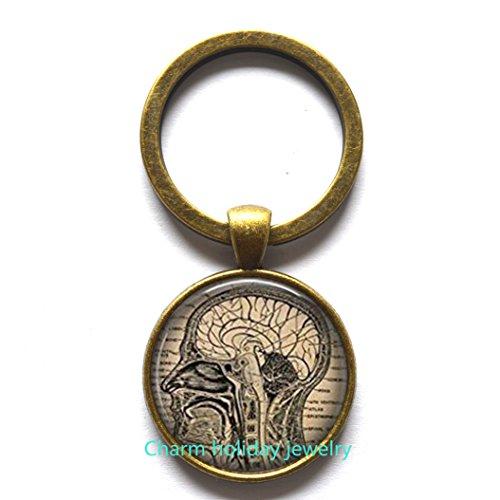 Steampunk anatomical brain Keychain, men's Keychain, human brain anatomy Keychain, medical gift, art graphic