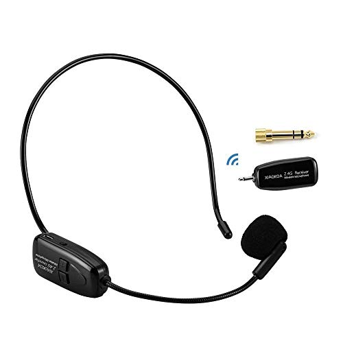 XIAOKOA 2.4G Wireless Microphone, 40m Stable Wireless Transmission, Headset And Handheld 2 In 1, For Voice Amplifier, Camera Recording, Speaker, Iphone, Computer Online Chatting(N-80)