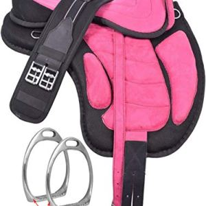 HR, International Youth Child English Synthetic Treeless FREEMAX English Pony Miniature Horse Saddle Tack with Handle…