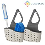 Sponge Holder for Sink, 2 pcs Hanging Kitchen Sink Caddy Organizer with Adjustable Strap, Space Saving Drain Well Sink Sider Faucet for Dish Soap Dishwashing Brush Keeps All in One Place