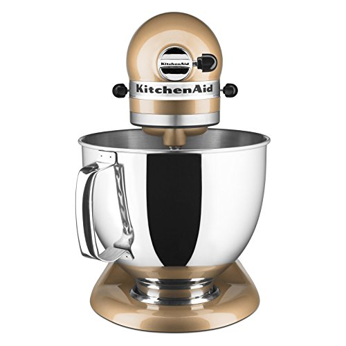 Peachy Champagne Kitchenaid 5 Qt Artisan Series With Pouring Shield Ksm150Ps Home Remodeling Inspirations Propsscottssportslandcom