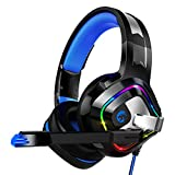 ZIUMIER Stereo Gaming Headset for PS4, PC, Xbox One, Surround Sound Over-Ear Headphones with Noise Cancelling Mic, RGB LED Light, Soft Comfort Earmuffs for Laptop, Mac, Nintendo