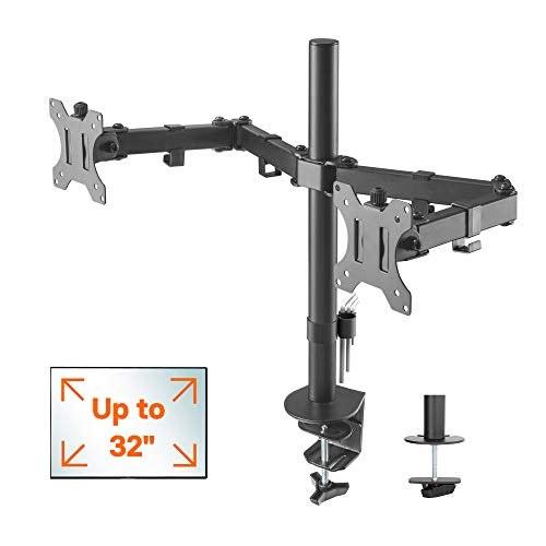 "41h23UFUA%2BL - 1home Double Twin Arm Desk Mount PC Computer Monitor Screen Dual Bracket Ergonomic Tilt Swivel Rotation 15""-32"" 