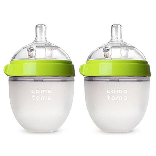 Comotomo Baby Bottle, Green, 5 Ounce (2 Count)