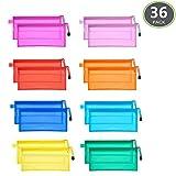 JM-capricorns 36pcs 9 x 4-1/2 inches Waterproof Plastic Double Layer Zipper File Bags Invoice Pouches Bill Bag Pencil Pouch Pen Bag (10 Color)