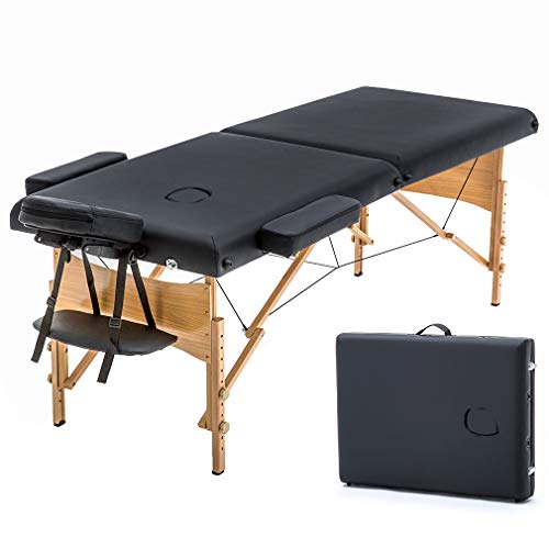 Massage Table Portable Massage Bed Spa Bed 73' Long 28' Wide Hight Adjustable Massage Table 2 Folding Massage Bed Spa Bed Facial Cradle Salon Bed W/Carry Case