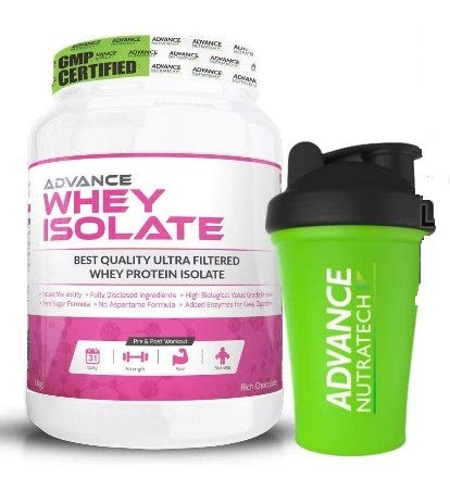 Advance Nutratech Whey Isolate 90%- 1 Kg (Rich Chocolate) | Free Shaker |Protein Powder supplement | for men women | lean muscle | trial traveler refill pack|with digestive enzymes keto beginners