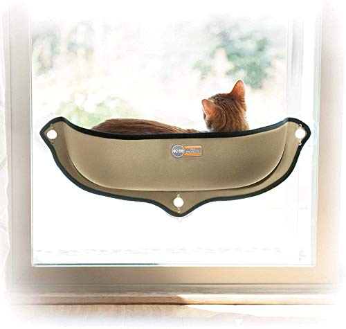 K&H PET PRODUCTS EZ Mount Window Bed Kitty Sill - Mounts to Virtually Any Glass Window or Door Tan 27 X 11 X 6 Inches