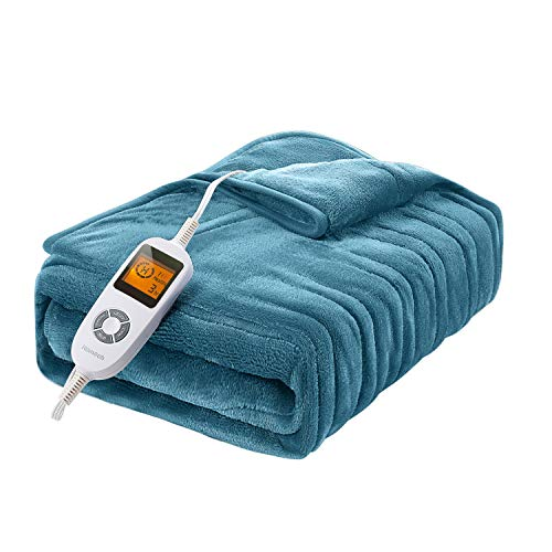 Homech Electric Heated Blankets, Electric Throws with Double-Layer Flannel, 10 Heating Levels, 3 Hours Auto-Off, Fast…