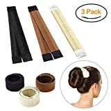 Hair Bun Maker, Magic Bun Shaper Donut Hair Styling Making DIY Curler Roller Hairstyle Tool, French Twist Doughnuts Hair Accessories - 3 Pack