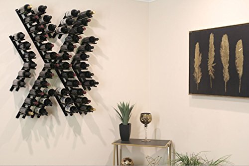 Black Metal Wall-Mounted Wine Rack for Cork Out Storage