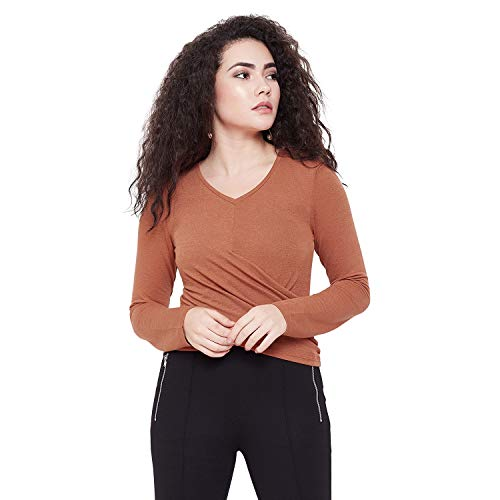 Madame Rust V Neck Solid Casual Top