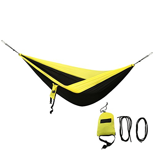 Leoneva Portable Camping Hammock with Tree Ropes and Carrying Bag, Lightweight Nylon Parachute Hanging Bed for Backpacking Travel Beach Yard (Black)