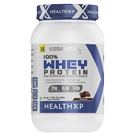 HealthXP 100% Whey Protein 1 Kg/32 Servings/25gms Protein Per Servings (Essential Series) (Chocolate)