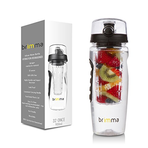 Brimma Leak Proof Fruit Infuser Water Bottle, Large 32 Oz.