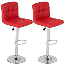 Barstools, GentleShower Set of 2 Modern Square PU Leather Adjustable Height Swivel Bar Stools Pub Chairs with Backrest Red