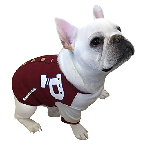 Petea Pet Dog Clothes Dog Cat Red Baseball Fleece Jacket Puppy Sweater Shirt Apparel for Dogs and Cats 1