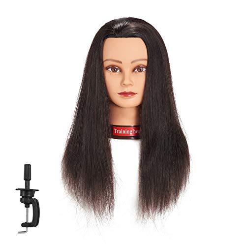20-22' 100% Human Hair Mannequin Head Training Head Cosmetology Manikin Head Doll Head With Free Clamp (natural black)
