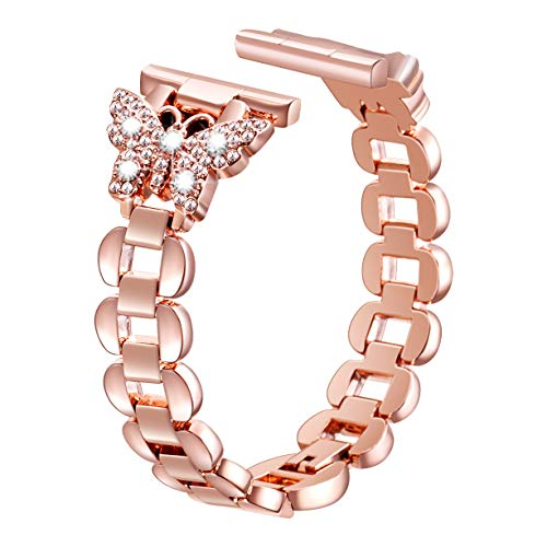 Sangaimei Watch Band,Women Hand Chain Jewelry Stainless Steel Band,Adjustable Bracelet with Rhinestone Compatible for Apple Watch 38mm 40mm Series 4/3/2/1 (Rose Gold 38/40mm and White Diamond)