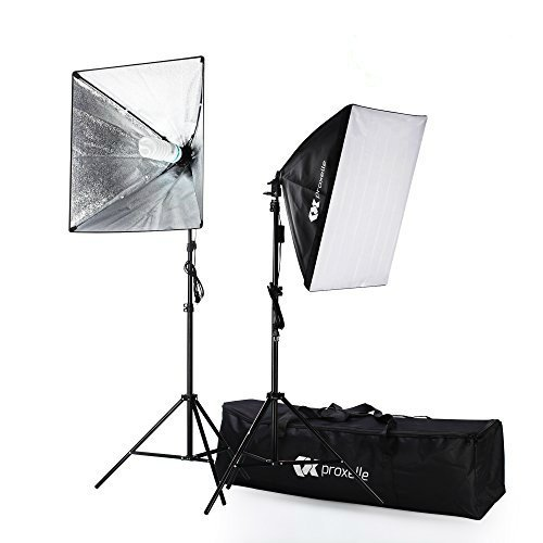 700W Photography Softbox Studio Lighting Kit 24″X24″, Proxelle Professional Photography Soft Box Light Set Photo Shoot Standing Lights Equipment for Photographers