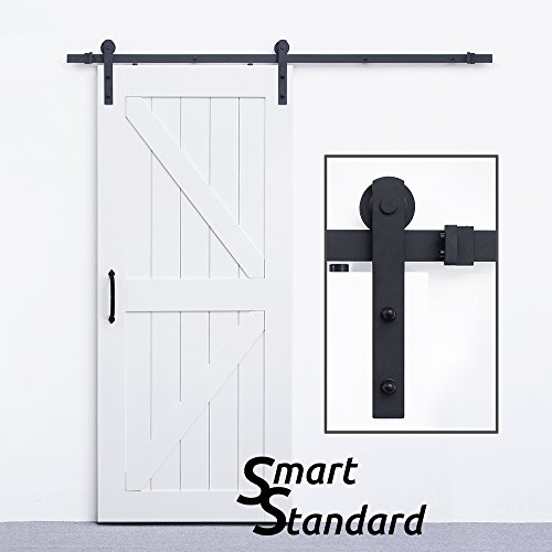 SmartStandard Heavy Duty Sturdy Sliding Barn Door Hardware Kit 6.6ft - Super Smoothly and Quietly - Simple and Easy to install - Includes Step-By-Step Installation Instruction Fit 36'-40' Wide Door