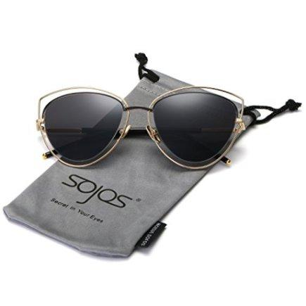230c8bd48b SojoS Women s Double Wire Double Rimmed UV400 Cat Eye Sunglasses SJ1046  SJ1047