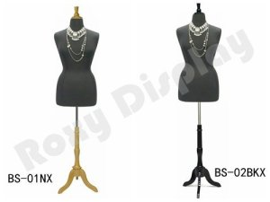 (JF-F18/20W+BS-01NX) ROXYDISPLAY Display Female Body Form, Jersey Form with Tripod Natural Wood Base, Solid Foam.