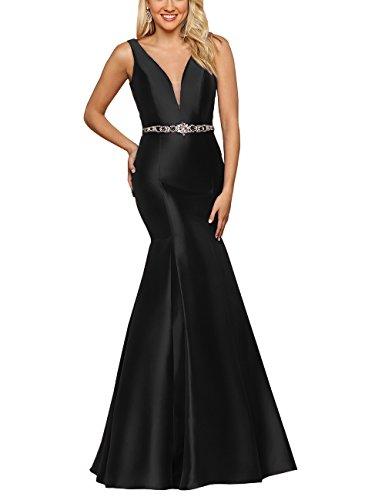 Lianai Women\'s Mermaid Long Formal Prom Dress Plus Size V-Neck ...