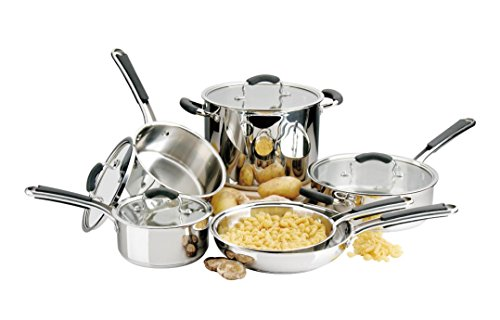 Stainless Steel Pots and Pans Set: 10 Piece Titan Cookware Tri Ply Full Kitchen Set - Cooking Starter Kit with 2 Frying Pans, 1 Saute Pan with Lid, 2 Saucepans with Lids and 1 Casserole Pot with Lid