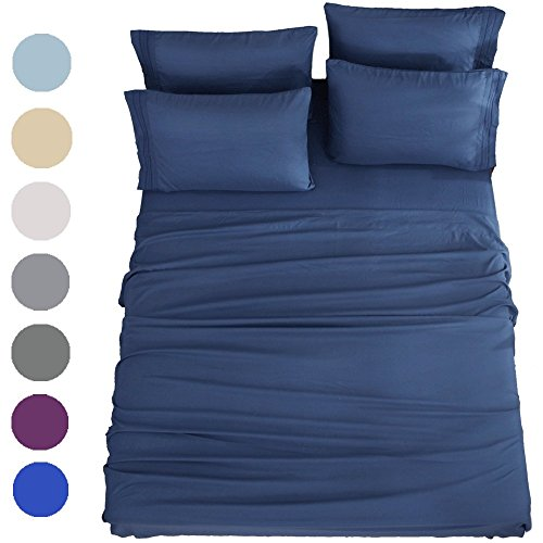 SONORO KATE Bed Sheets Set Sheets Microfiber Super Soft 1800 Thread Count Luxury Egyptian Sheets 16-Inch Deep Pocket Wrinkle Fade and Hypoallergenic - 6 Piece (King, Navy Blue)