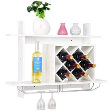 White Wall-Mounted Wine Rack with Diamond Shaped Bottle Slots, Multi-functional