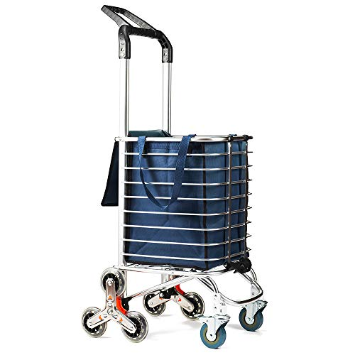 TUOMAN Folding Shopping Cart Portable Utility Carts Light Weight Trolley Stair Climbing Cart with Triangle Crystal Wheel - 177 Pounds Capacity