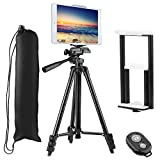 PEYOU Compatible for iPad iPhone Tripod, 50' Lightweight Aluminum Phone Camera Tablet Tripod + Wireless Remote + Universal 2 in 1 Mount Holder for Smartphone (Width 2.2-3.3'),Tablet (Width 4.3-7.3')