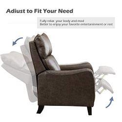 ANJ Push Back Recliner Chair, Microfiber Home Single Sofa for Living Room (Smoky Grey)