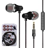 Earphones Bass Earbuds with Microphone in Ear Earbud Headphones with Mic and Volume Control, 3.5 mm Plug Compatible Multiple Audio Devices Black