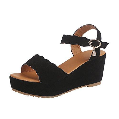 COLNER Sandals for Teen Girls Women Fish Mouth Platform Summer Beach High Heels Wedge Sandals Buckle Slope Sandals Black