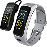 Fitness Track, with 24H Heart Rate Monitor,Bluetooth Earphone,Smart Bracelet Talk Band,Activity Tracker Watch with Color Screen,Smart Band Replacement Band,Sport Tracker Watch for Men,Women (Grey)