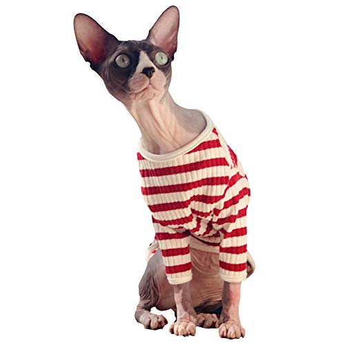 DENTRUN Hairless Cats Shirt Cat Wear Clothes Stripe Vest Best Hairless Cat's Adorable Clothes Cat's Pajamas Jumpsuit for All Season, Soft & Skin-Friendly