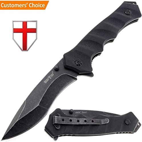 Tactical Folding Pocket Knife - Best Survival Hunting EDC Military Bushcraft Flip knives - Foldable Camping Outdoor Black G-10 Knife with Metal Clip for Man & Woman 6792