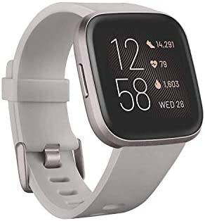 Fitbit Versa 2 Health and Fitness Smartwatch with Heart Rate, Music, Alexa Built-In, Sleep and Swim Tracking, Stone/Mist Grey, One Size (S and L Bands Included) 3