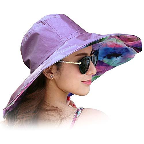 Women's Rain Hats Waterproof Rain Hat Wide Brim Bucket Hat Rain Cap Sun Hats (Purple)