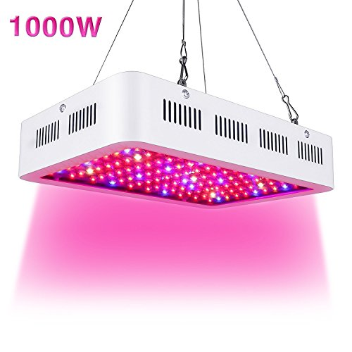 1000W LED Grow Light Full Spectrum for Greenhouse Hydroponic Indoor Plants Seeding/Growing/Flowering with Double Chips Growing Bulbs (White)